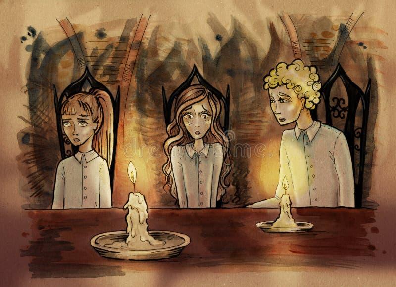 Bambini che si siedono al tavolo da pranzo royalty illustrazione gratis