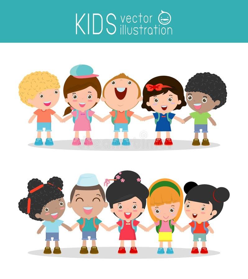Bambini che si tengono per mano sul fondo bianco, bambini Multi-etnici che si tengono per mano, molti bambini felici che si tengo illustrazione di stock