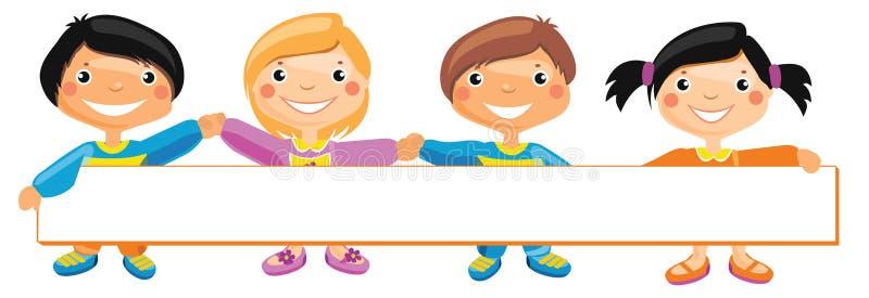 Bambini che stanno dietro il cartello royalty illustrazione gratis