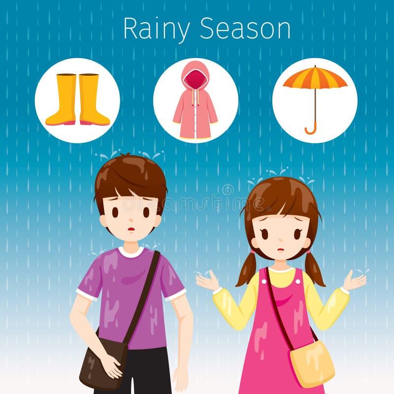 Bambini che stanno insieme nella pioggia, il loro corpo bagnato illustrazione di stock