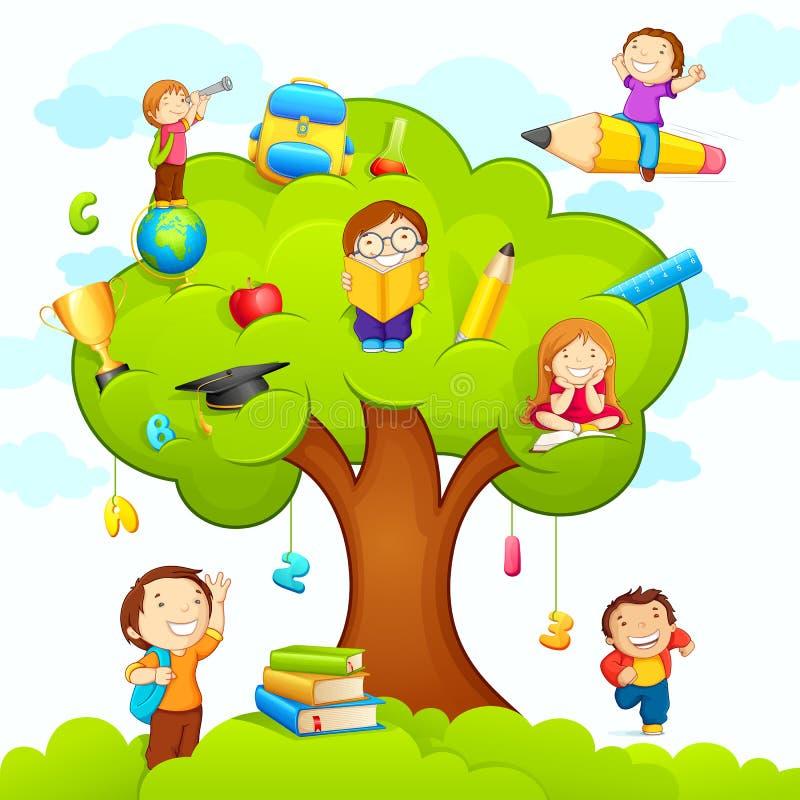 Bambini che studiano sull'albero royalty illustrazione gratis
