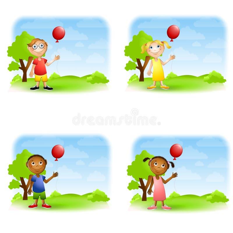 Bambini che tengono gli aerostati illustrazione di stock