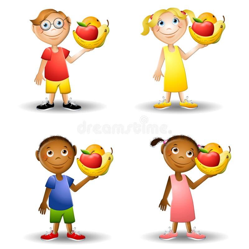 Bambini che tengono gli alimenti sani 2 illustrazione di stock