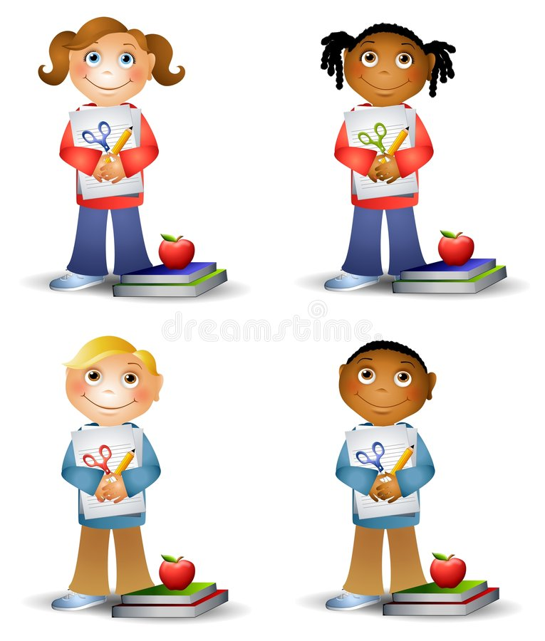 Bambini che tengono i rifornimenti di banco royalty illustrazione gratis