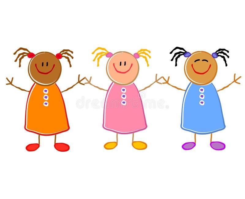 Bambini che tengono il gruppo delle mani royalty illustrazione gratis
