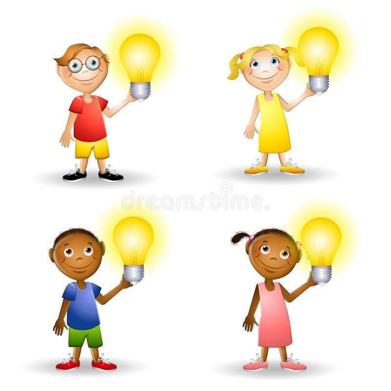 Bambini che tengono le lampadine royalty illustrazione gratis