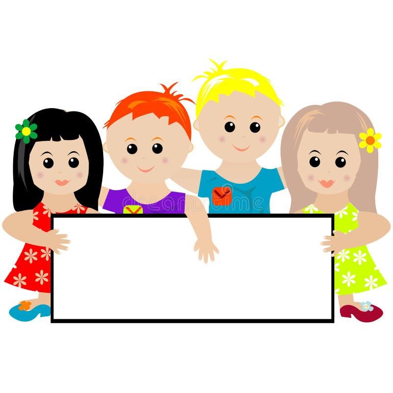 Bambini che tengono una bandiera illustrazione di stock