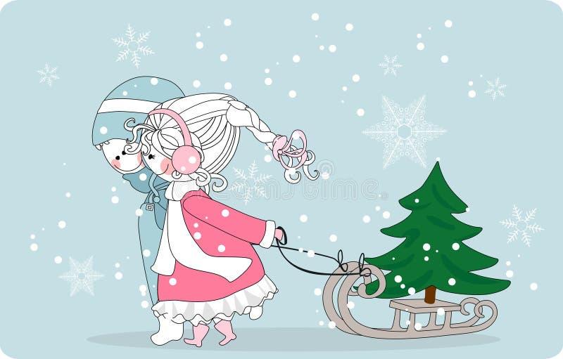 Bambini che tirano l'albero di Natale sulla slitta illustrazione di stock