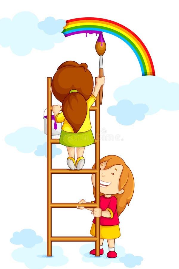 Bambini che verniciano Rainbow royalty illustrazione gratis