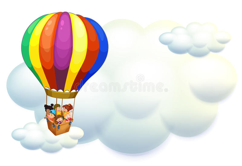Bambini che volano sul pallone nel cielo illustrazione vettoriale