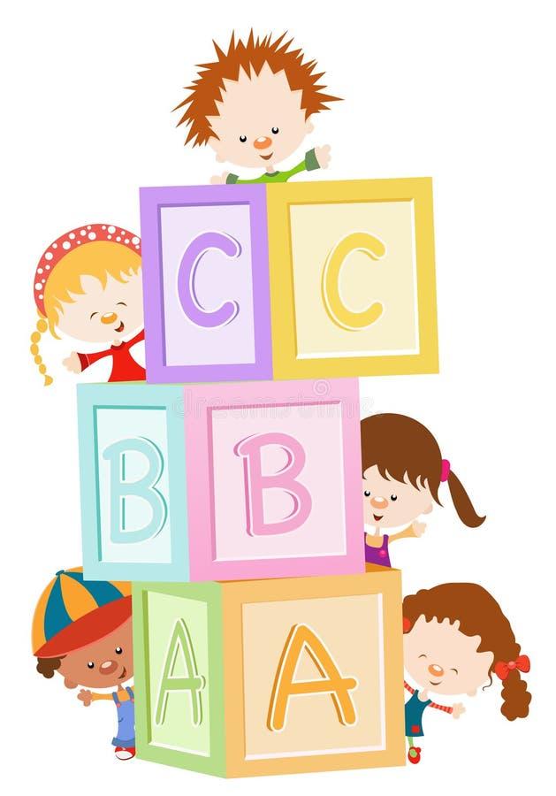 Bambini con i blocchi illustrazione di stock