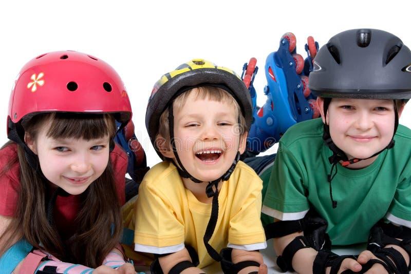 Bambini con i rollerblades fotografia stock