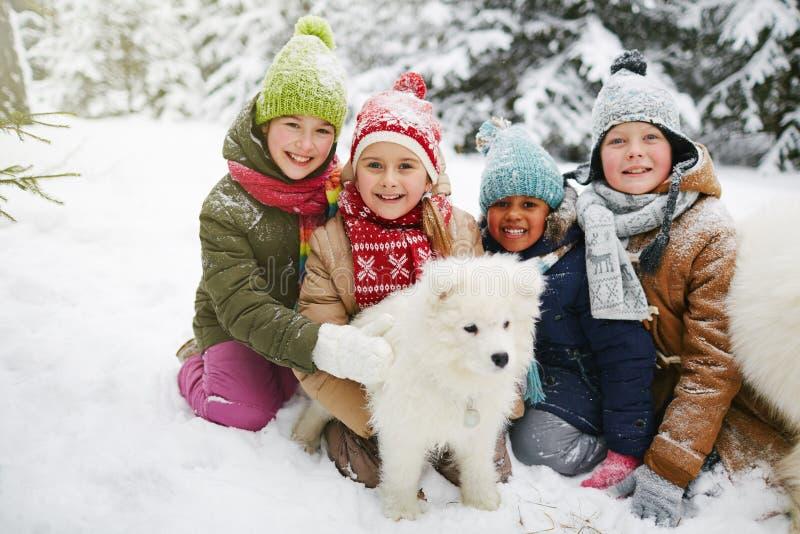 Bambini con il cane lanuginoso fotografia stock