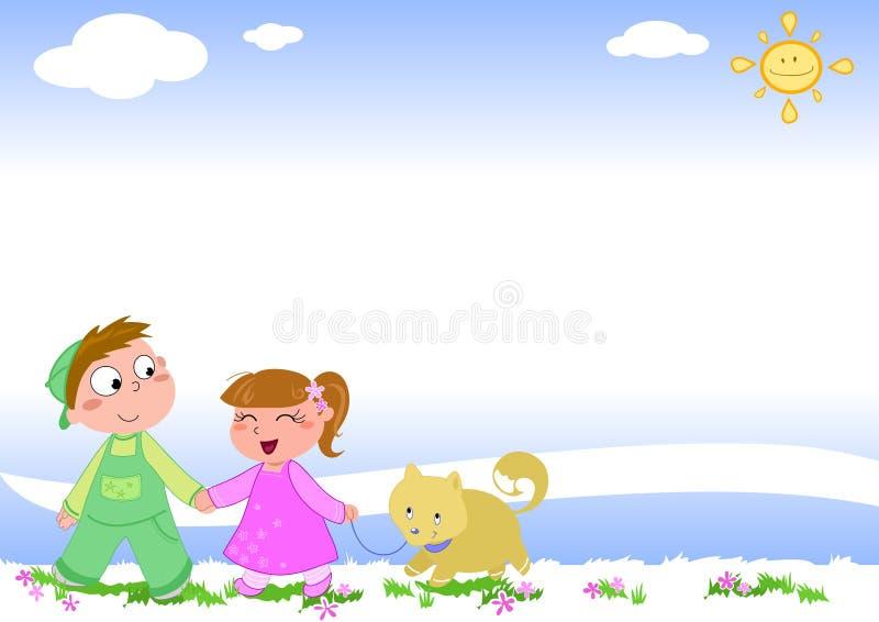 Bambini con il cane - pagina vuota 2 illustrazione vettoriale