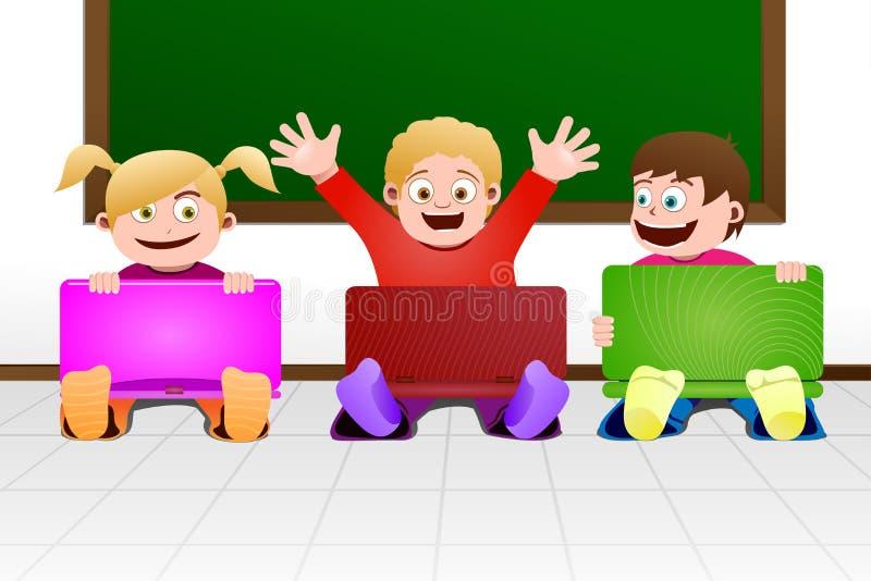 Bambini con il computer portatile in aula illustrazione vettoriale