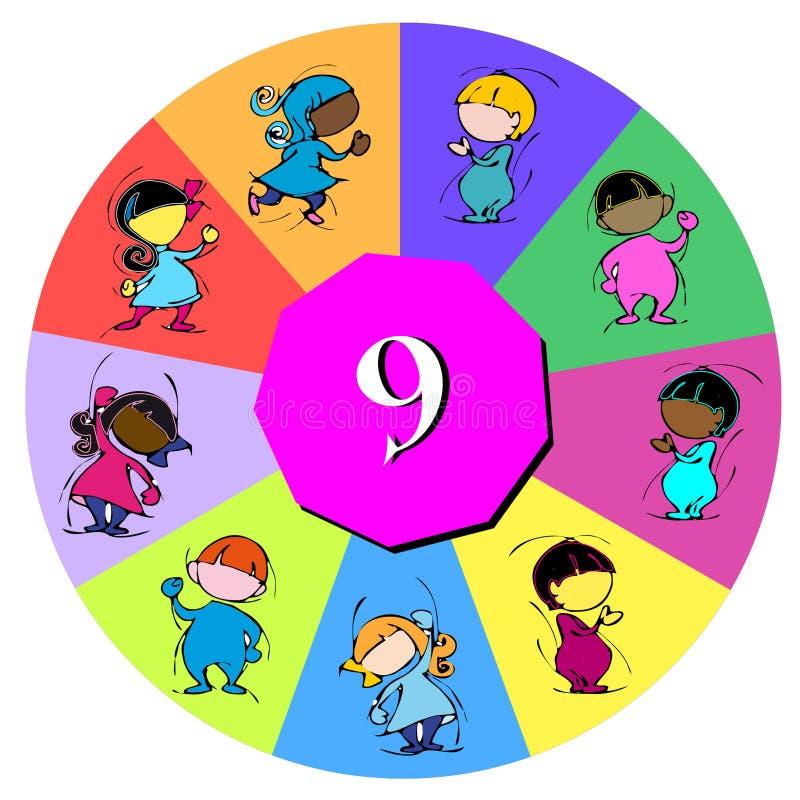 Bambini con il numero nove royalty illustrazione gratis