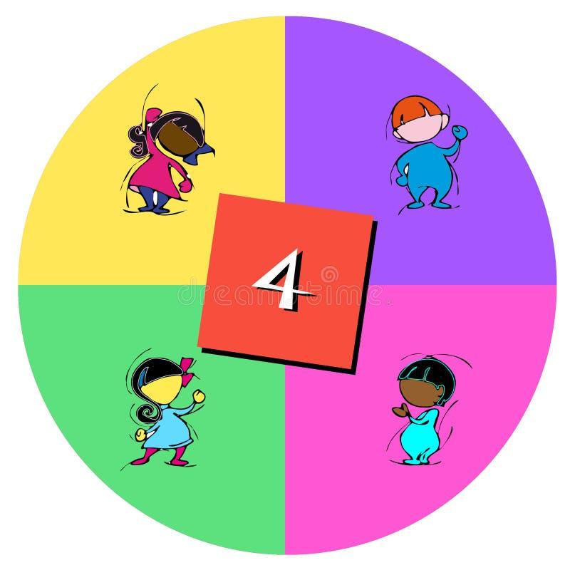Bambini con il numero quattro illustrazione vettoriale