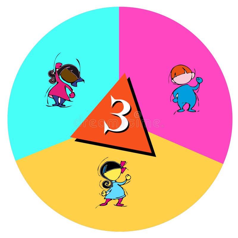 Bambini con il numero tre royalty illustrazione gratis