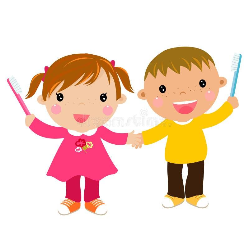 Bambini con il toothbrush illustrazione vettoriale
