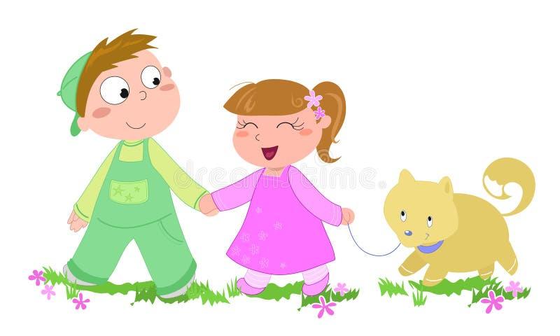 Bambini con l'illustrazione cane-vectorial illustrazione vettoriale