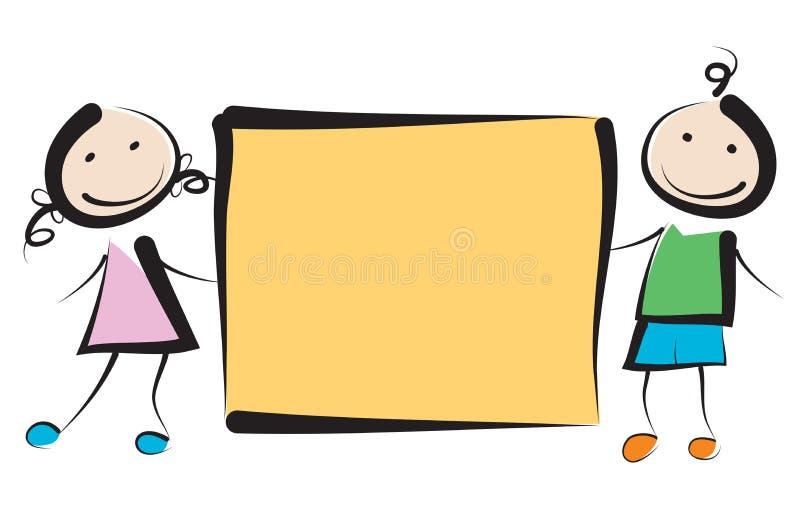 Bambini con l'insegna illustrazione di stock