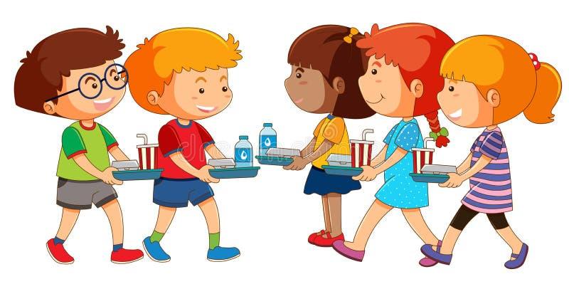 Bambini con l'insieme del pranzo royalty illustrazione gratis