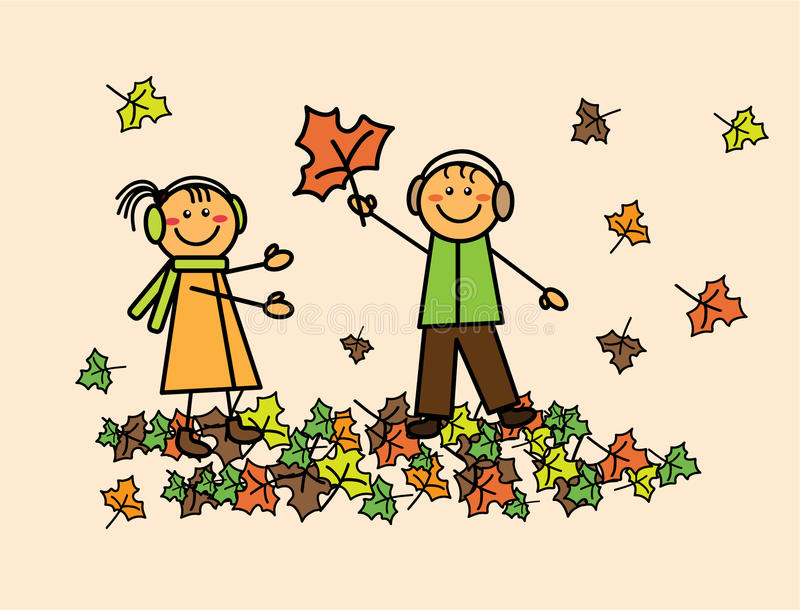 Bambini con le foglie di autunno fotografia stock