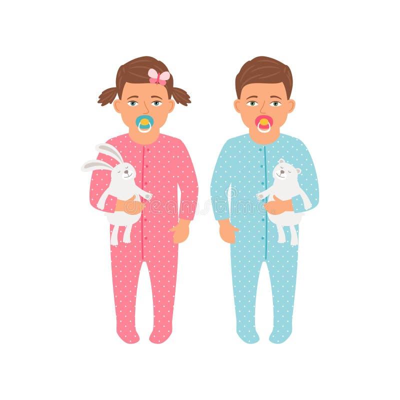 Bambini con le icone dei giocattoli messe royalty illustrazione gratis