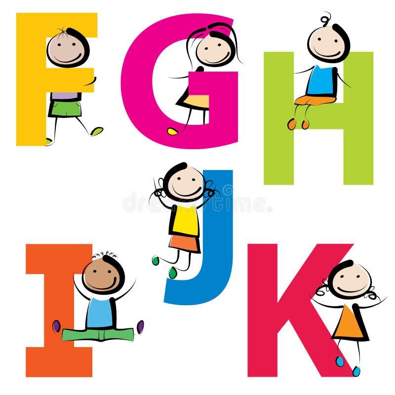 Bambini con le lettere FK royalty illustrazione gratis
