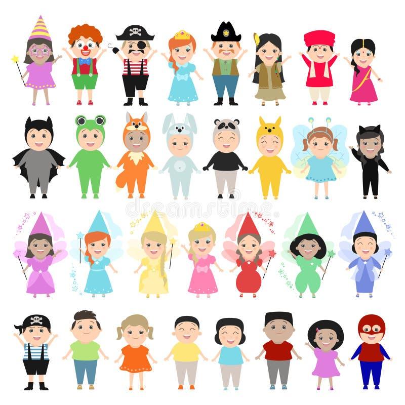 Bambini in costumi di carnevale, insieme Bambini della nazione differente royalty illustrazione gratis
