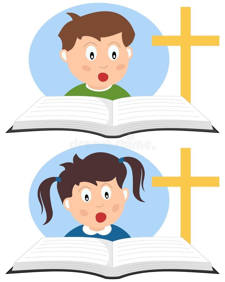 Bambini cristiani che leggono un libro