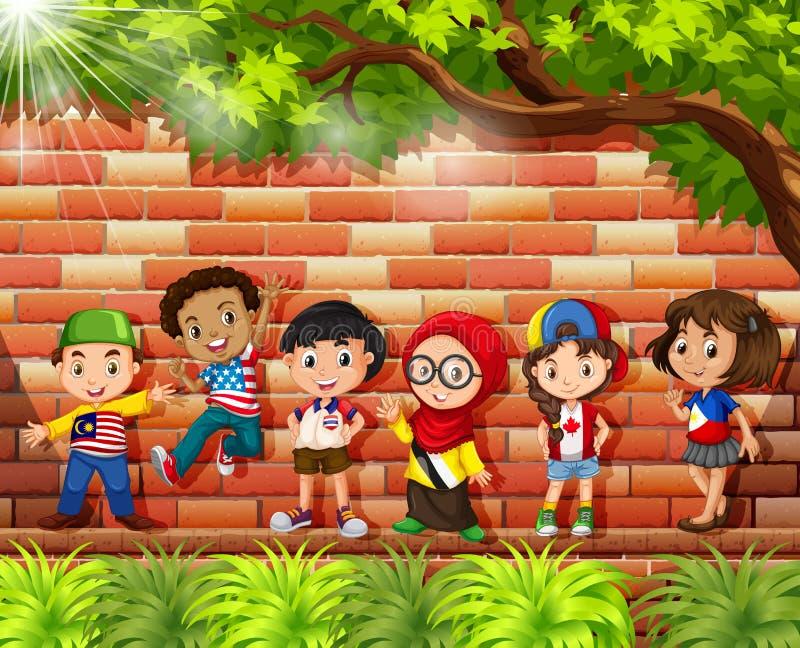 Bambini dai paesi differenti che stanno sotto l'albero illustrazione vettoriale