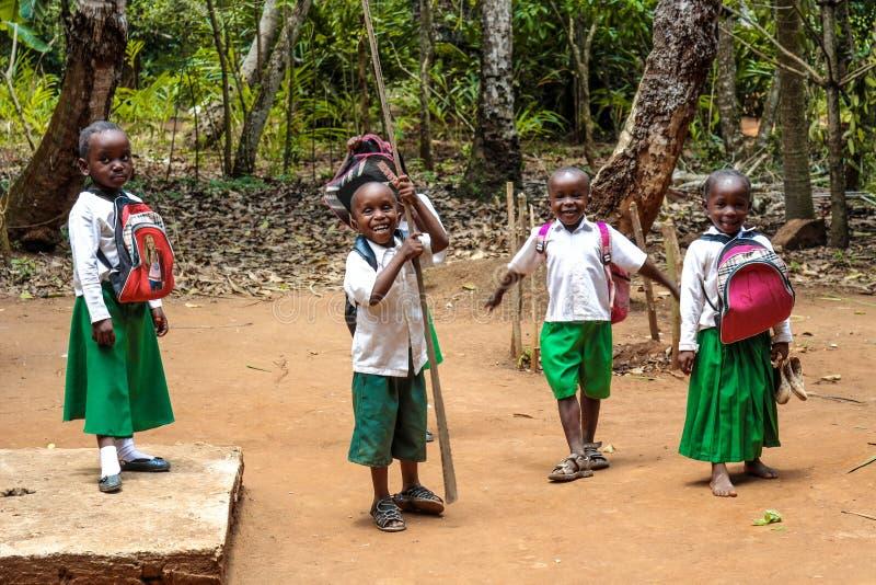 Bambini dal villaggio di jambiani a Zanzibar fotografia stock