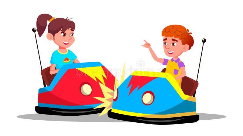 Bambini dei caratteri che determinano vettore dell'automobile di paraurti illustrazione di stock