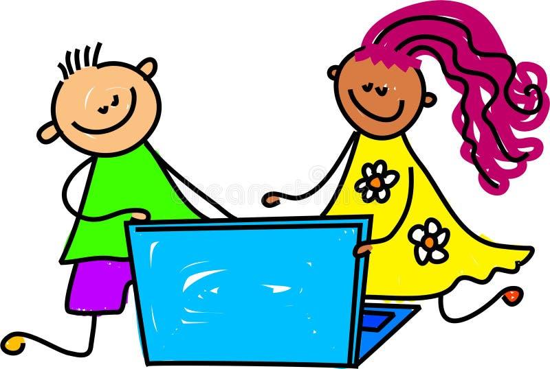 Bambini del computer portatile illustrazione vettoriale