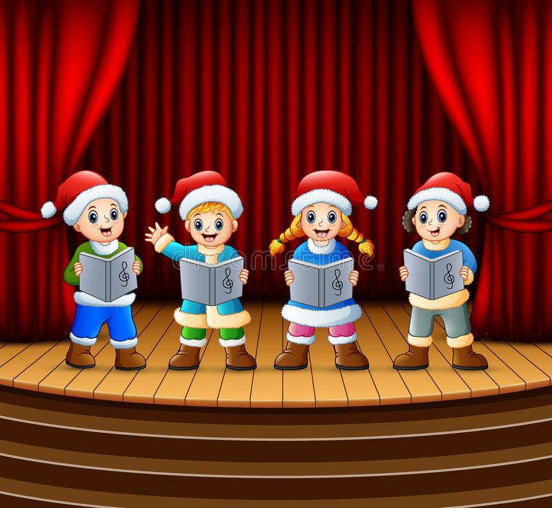 Bambini del fumetto che cantano i canti natalizii di natale sulla fase illustrazione di stock