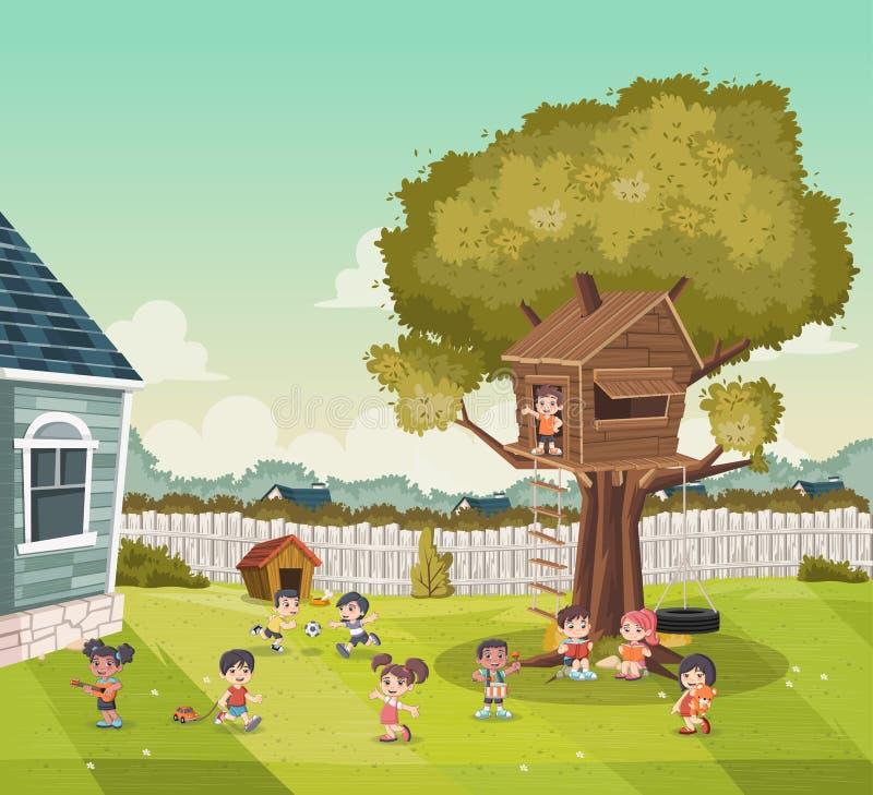 Bambini del fumetto che giocano sul cortile di una casa variopinta nella vicinanza del sobborgo Sport e ricreazione illustrazione vettoriale