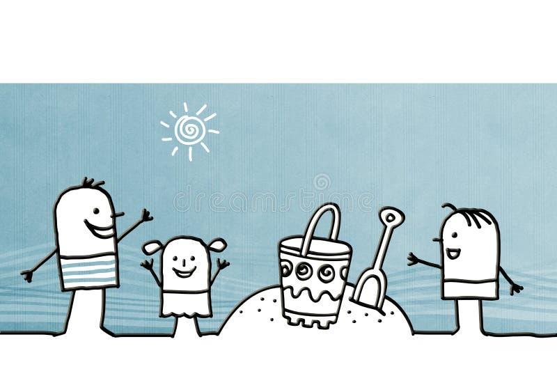 Bambini del fumetto che giocano sulla spiaggia illustrazione di stock