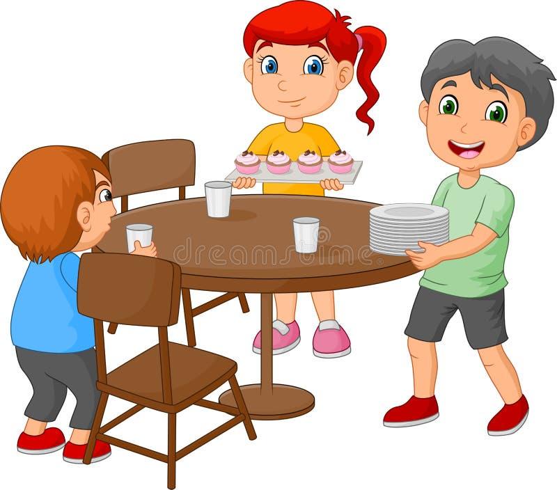 Bambini del fumetto che mettono il tavolo da pranzo disponendo i vetri ed alimento illustrazione di stock
