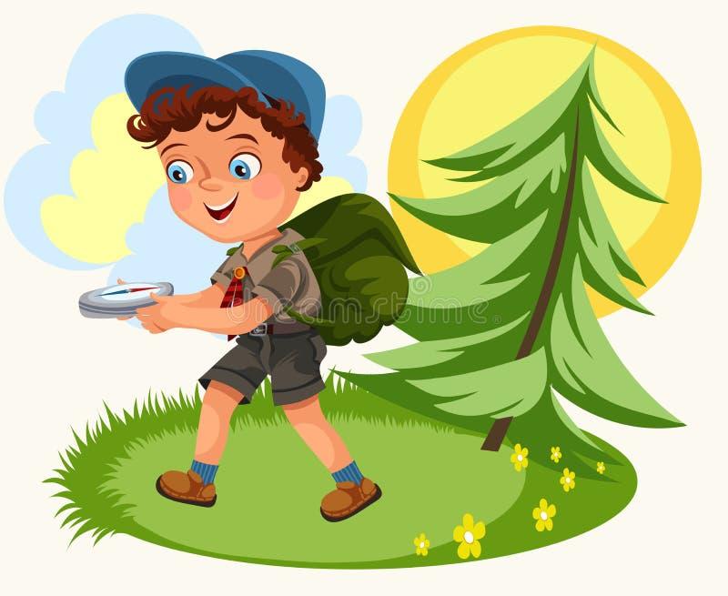 Bambini del fumetto che seguono la bussola in foresta illustrazione vettoriale