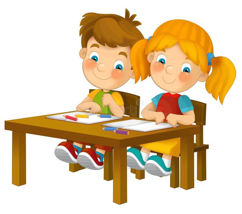 Bambini del fumetto che si siedono - imparando - illustrazione per i bambini XXL illustrazione di stock