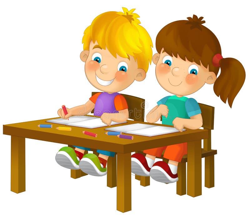 Bambini del fumetto che si siedono - imparando - illustrazione per i bambini XXL royalty illustrazione gratis