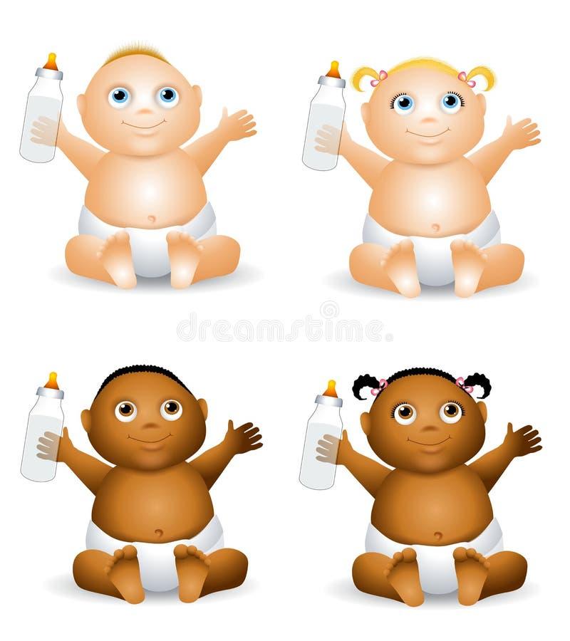 Bambini del fumetto con le bottiglie illustrazione vettoriale
