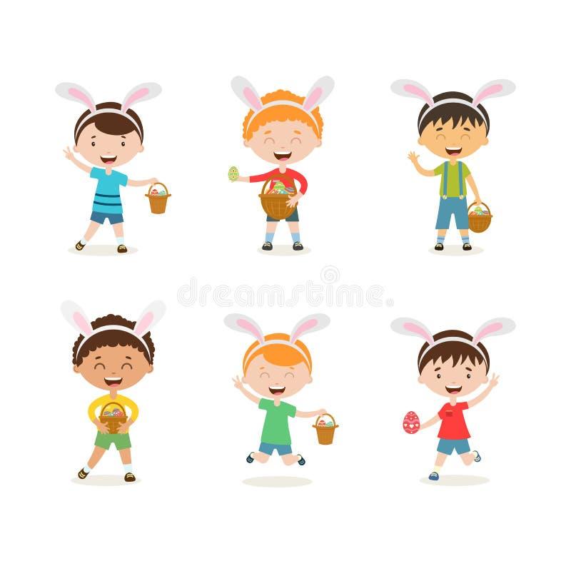 Bambini del fumetto con le orecchie del coniglietto messe Ragazzi svegli della primavera in costumi di pasqua con il canestro e l illustrazione di stock