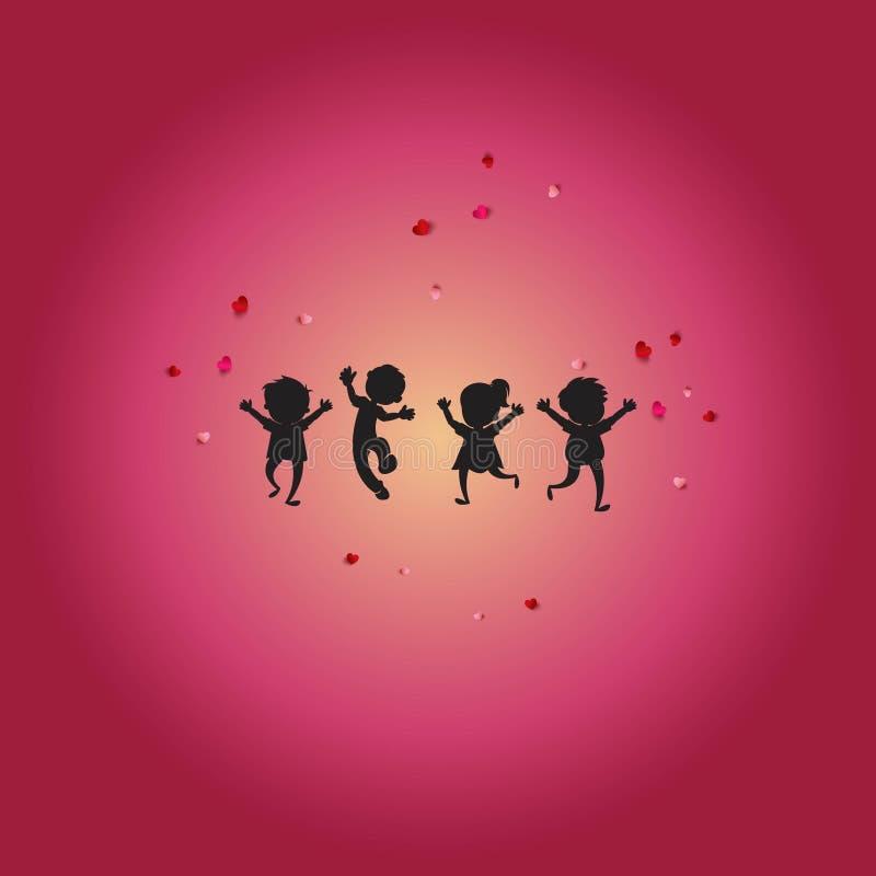 Bambini del gioco e fondo di felicità illustrazione vettoriale
