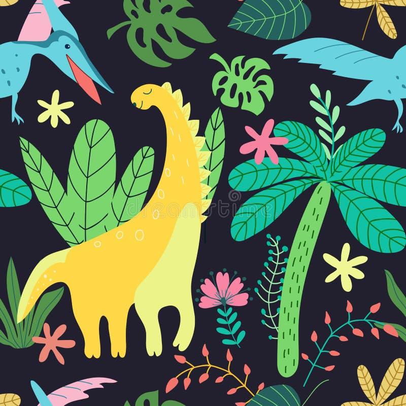 Bambini del modello dei dinosauri nello stile del fumetto su fondo nero Struttura senza giunte di vettore Carta da parati d'avang royalty illustrazione gratis