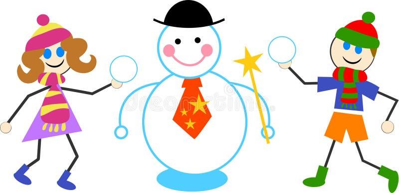 Bambini del pupazzo di neve royalty illustrazione gratis
