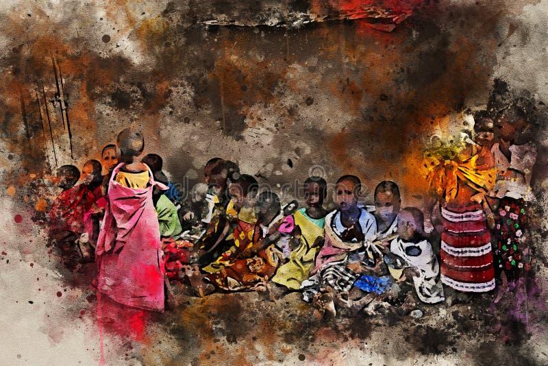 Bambini del sedile della tribù di maasai sulla terra illustrazione vettoriale