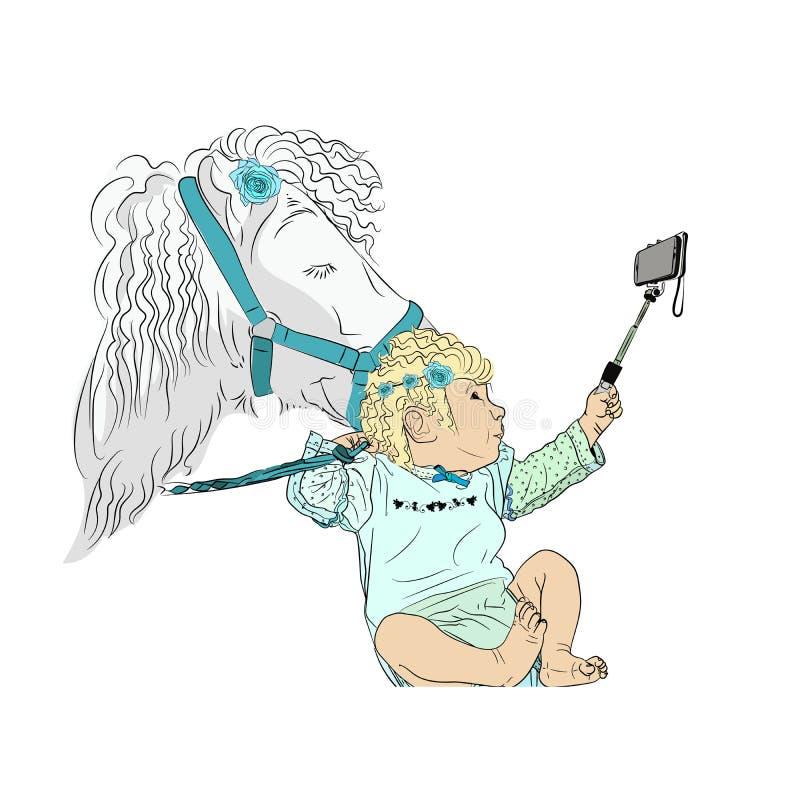 bambini del selfie Un bambino sveglio royalty illustrazione gratis