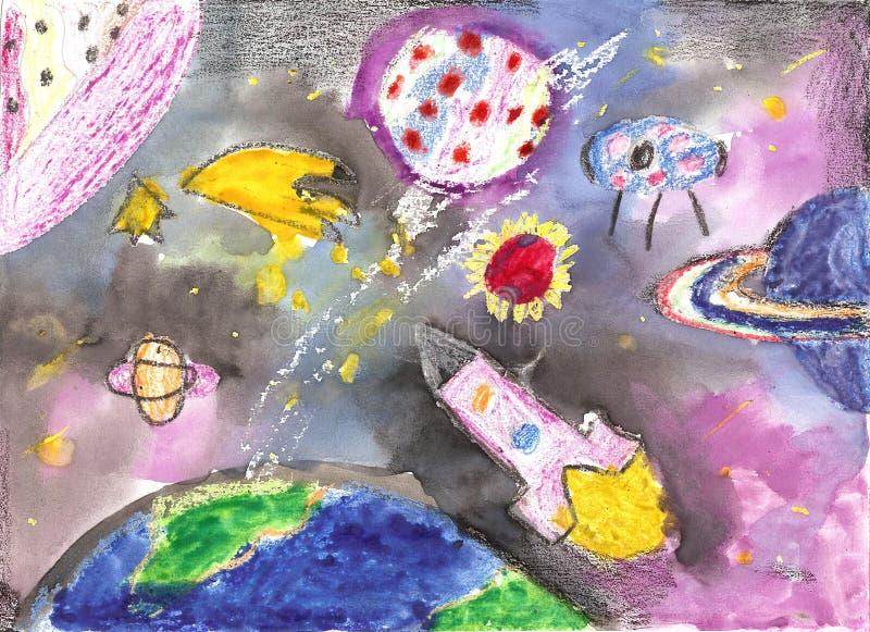 Bambini dell'acquerello che estraggono il razzo del pianeta dello spazio illustrazione di stock